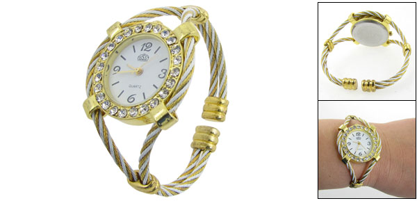 Gold Tone White Rhinestone Decor Round Dial Wrist Watch for Woman