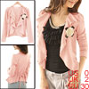 Front Opening Ruffled Collar Pink Autumn Coat XS for Women