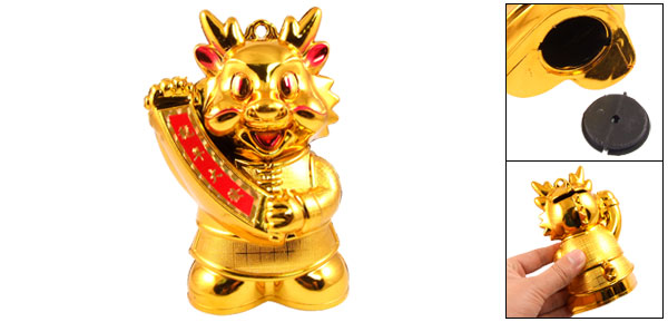 Gold Tone Plastic Dragon Shaped Money Coin Saving Box Piggy Bank