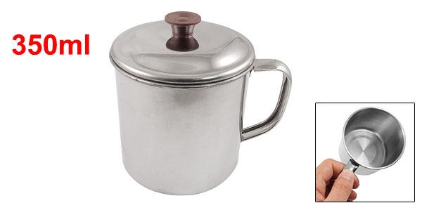 Silver Tone Stainless Steel 8cm Diameter Water Cup Mug w Cap