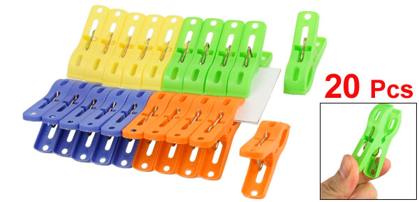 20 Pcs Hanging Clothes Pegs Clips Plastic Clothespins