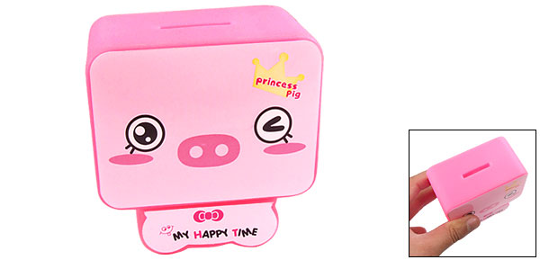 Pink Plastic Cartoon Pig Pattern Coin Money Saving Box