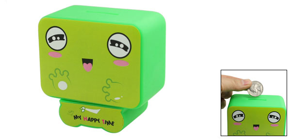 Square Shape Coins Money Change Saving Cartoon Box Green