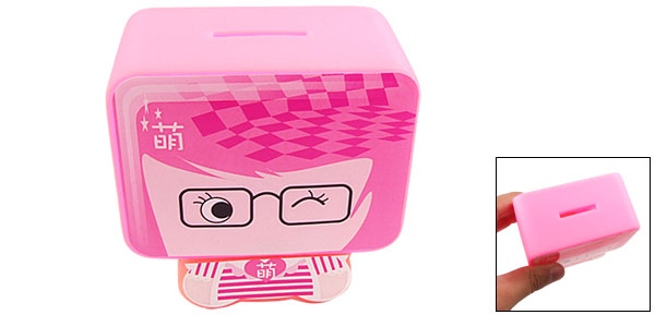 Pink Plastic Spectacled Cartoon Pattern Coin Money Saving Box