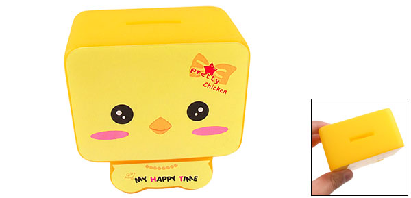 Pretty Chicken Pattern Yellow Plastic Square Piggy Bank Money Saving Box