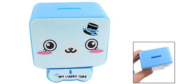 Cartoon Bear Print Square Money Saving Box Coins Bank Blue