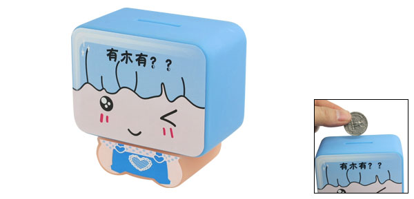 Blue Plastic Smile Cartoon Pattern Money Coins Saving Box