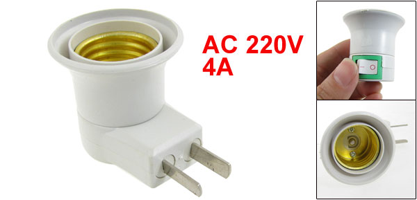 US Plug AC 220V 4A On Off Switch E27 Lamp Holder