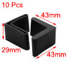 10 Pcs 40mm x 40mm Furniture Angle Iron Foot Pads Black Rubber Co...