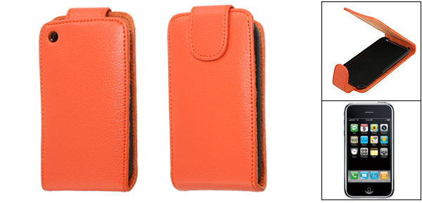 Orange Red Faux Leather Magnetic Flip Case Pouch for iPhone 3G
