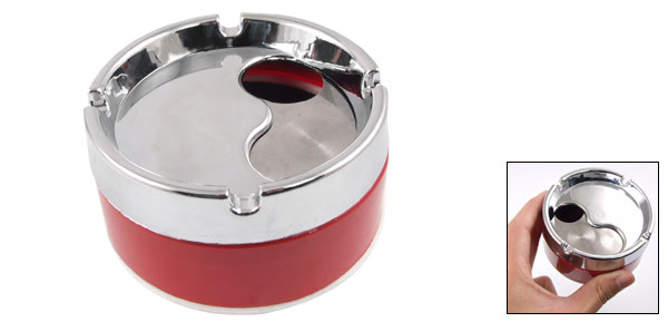Red Silver Tone Cylinderical Cigarette Ash Holder Removable Lid Ashtray
