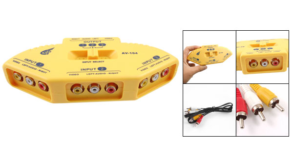 Yellow 3 Input 1 Output Composite AV Switch Selector w RCA Cable