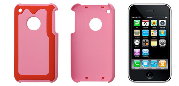 Smooth Hard Plastic Back Protector Red Pink for iPhone 3G 3GS