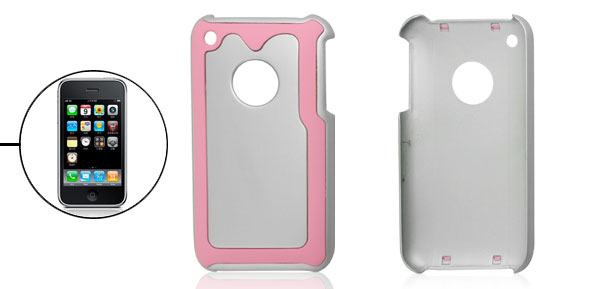 Pink Silver Tone Hard Plastic Back Shell for iPhone 3G 3GS