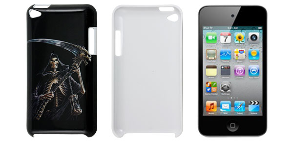 Skeleton Grim Reaper Pattern Black Plastic Back Case for iPod Touch 4G