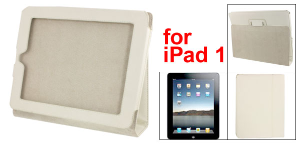White Magnetic Flap Lining Faux Leather Case Cover for Apple iPad 1