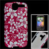IMD White Fuchsia Floral Hard Plastic Back Shell Case for HTC Des...