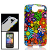 IMD Colored Flower Hard Plastic Back Cover Guard Case for HTC Des...