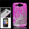 IMD Tri Color Floral Hard Plastic Back Cover Shell for HTC Wildfi...