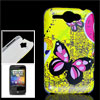 Black Fuchsia Butterfly IMD Hard Plastic Back Cover Case for HTC ...