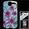 Purple Flower Print Cyan Hard Plastic IMD Back Case for HTC G7