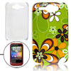 IMD Flower Pattern Green Hard Plastic Back Case for HTC G8