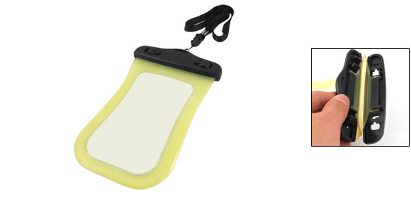 Water Resistant Yellow Plastic Bag Cover w Neck Strap for iPhone 3G 3GS 4 4G
