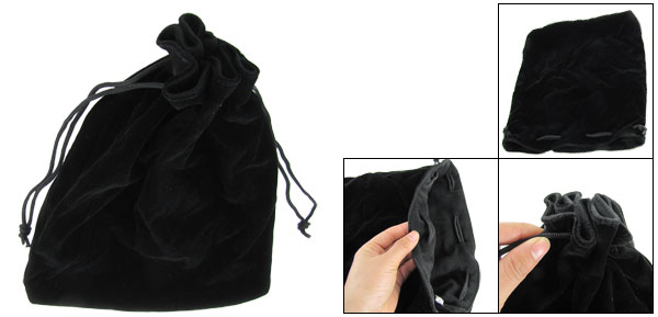 Black Soft Plush Lining Velvet Camera Lens Holder Pouch
