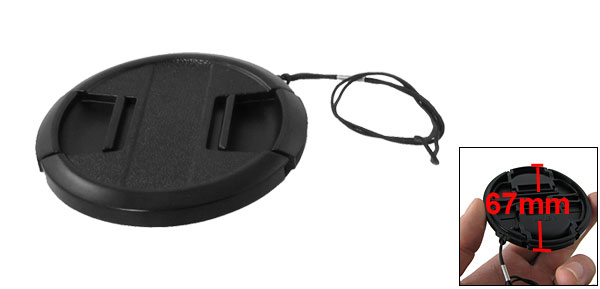 67mm Black Plastic Clip On Digital Camera Lens Cap Cover w String