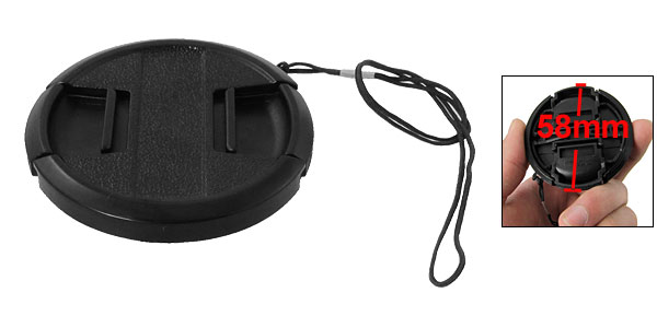 58mm Black Plastic Clip On Camera Lens Filter Cap Cover w String