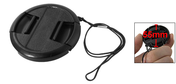 55mm Black Plastic Center Pinch Camera Lens Hood Protective Cap w String