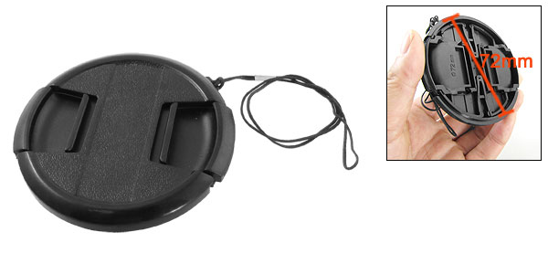 Digital Camera Plastic 72mm Front Lens Cap Cover Protector Black