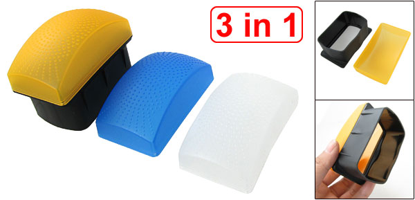 Plastic 3 in 1 Camera Flash Diffuser Cover Blue Orange White for Canon 580 EXII