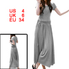 Women Heather Gray Scoop Neck Short Sleeve Stretchy Mid Calf Dres...