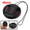 Black Center Pinch Camera Lens Hood Cap 49mm w String