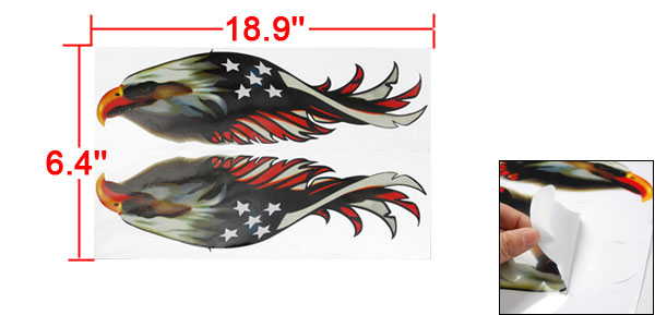 Pair Self Adhesive Colored Eagle Design Sticker Decal for Auto Car