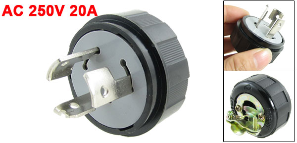 Black LK6320 20A AC 250V Twist Locking 3 Pin Male Plug