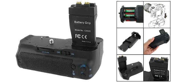 DSLR Camera Vertical Grip Black + Battery Pack for Canon EOS 550D 600D