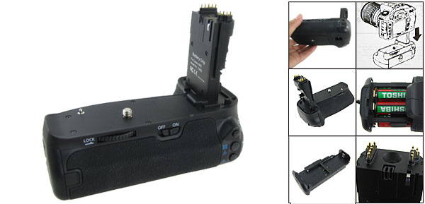 Camera Black Plastic Vertical Battery Grip for Canon 60D