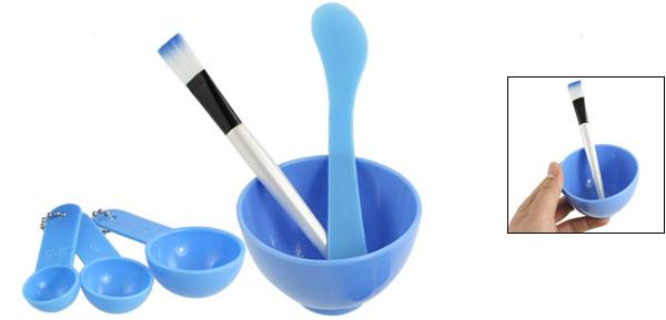 Blue 4 in 1 DIY Facial Mask Mixing Stick Brush Gauge 8.5cm Dia Bowl Kit