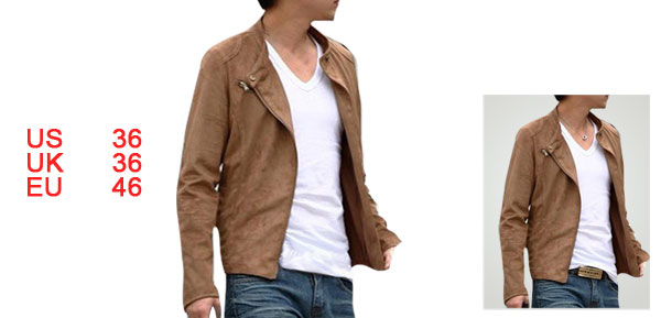Men Long Sleeve Stand Collar Zippered Camel Suede Jacket S