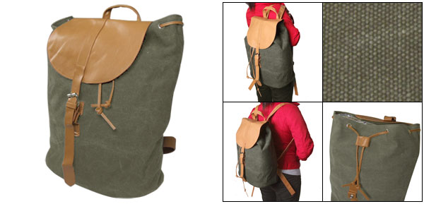 String Closure Faux Leather Strap Canvas Rucksack Backpack Bag Olive Green for Ladies