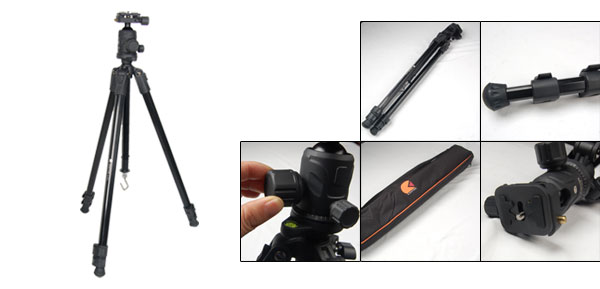 4.95Ft Black Aluminum Alloy 3 Section Digital Camera Tripod Stand w Bag