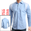 Mens Casual Blue Point Collar Long Sleeve Dress Shirt M