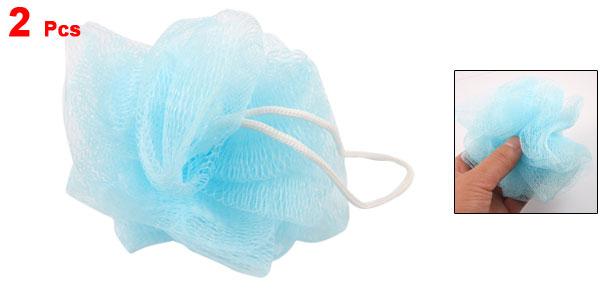Bathing Shower Body Exfoliate Puff Nylon Mesh Net Ball Blue 2 Pcs