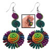 Women Colorful Nylon Cord Seashell Shape Pendant Earrings 2 Pcs