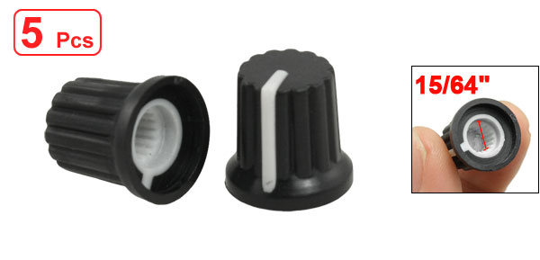 5 Pcs Black Plastic Rotary Knobs w White Mark for Potentiometer Pot