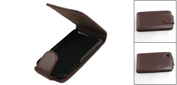Coffee Color Faux Leather Magnetic Vertical Flip Pouch for iPhone 3G 3GS