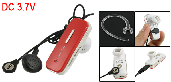 Red Wireless 10M Transmit Distance bluetooth Stereo Headset Earphone w Charger