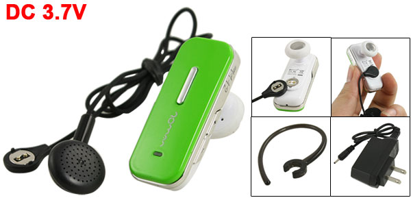 Green Wireless Stereo bluetooth Headset w 2 Pin US Plug Charger